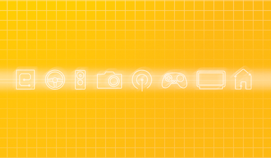 The icons established for the CES show. This is a detail of an ad.