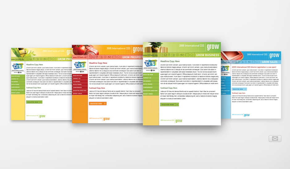 """Four of the CES """"Grow"""" Email templates"""