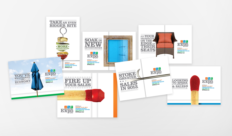 Seven targeted brochures with neat short flaps to help convey the concept. The seven brochures target the following audiences: barbecue, pool and spa, furnishings, hearth, patio, lapsed members, and anyone who didn