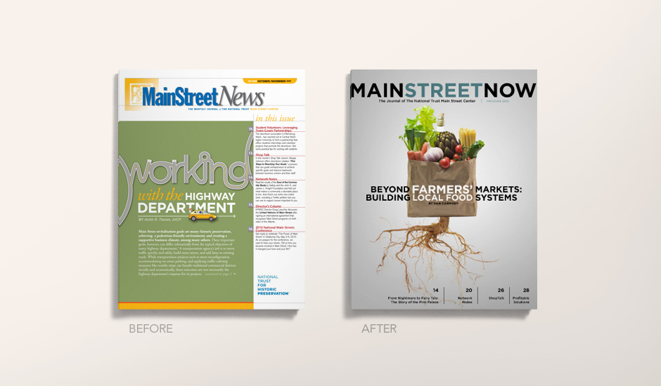 The before and after covers of Main Street Now (formerly MainStreet News).)