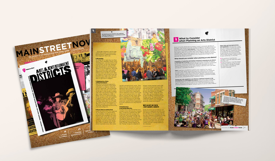 The cover and a spread from the lead article on arts and entertainment districts.