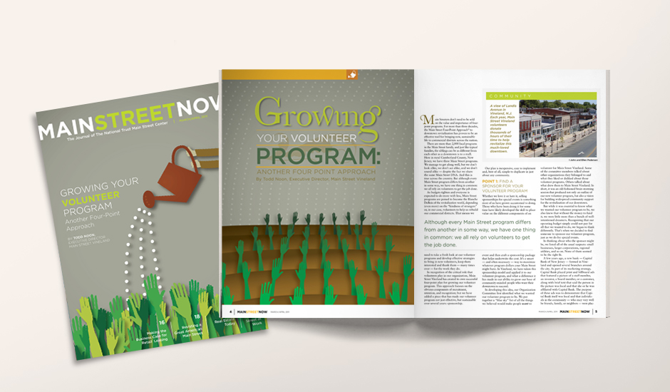 The cover and a spread from the lead article on growing your volunteer group(s).